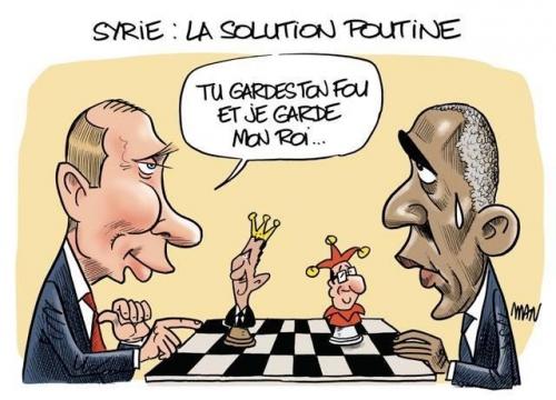 dessin,poutine,obama,hollande,syrie,échecs,assad