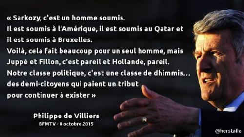 philippe de villiers,sarkozy,hollande,soumis,dhimmis,usa,qatar,bruxelles