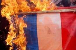 drapeau français,brule