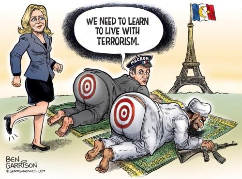 dessin,marine,macron,soumission,france soumise,islamisme,islam,islamisation de la france