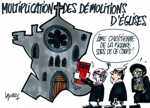 dessin,france,destruction d'églises,islamisation,défrancisation