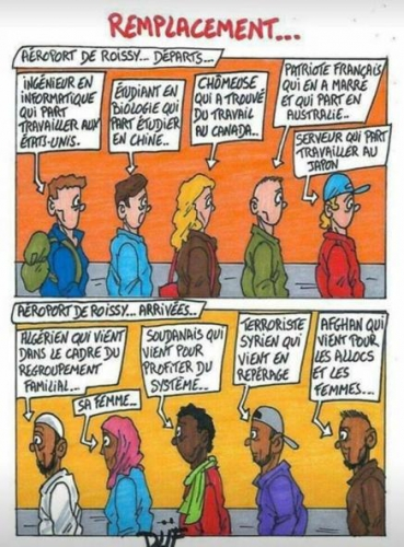 dessin,grand remplacement,bd,immigration,invasion migratoire,changement de peuple,émigration des blancs,white flight
