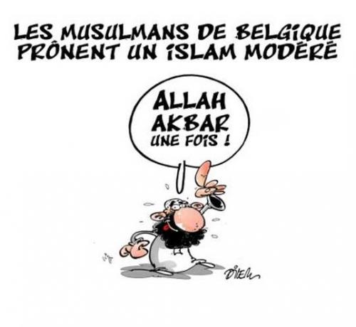 dilem,dessin,allah akhbar,belgique,islam,modéré,islamistes,musulmans