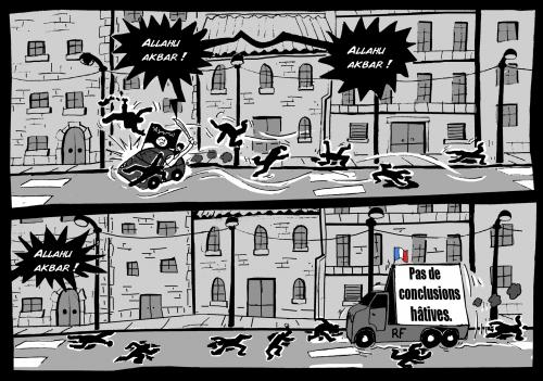 allah akhbar,dessin,propagande,médias,conclusions hâtives,désinformation,mensonge,totalitarisme,guerre civile,contrôle des médias,pensée unique,politiquement correct,dictature
