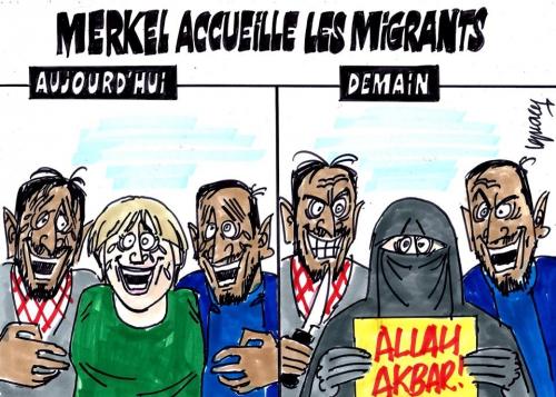 migrants,réfugiés,clandestins,invasion,immigration,dessin,merkel,islam,allah akbar